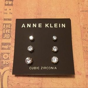 Anne Klein Glass Stone Stud Earrings Set